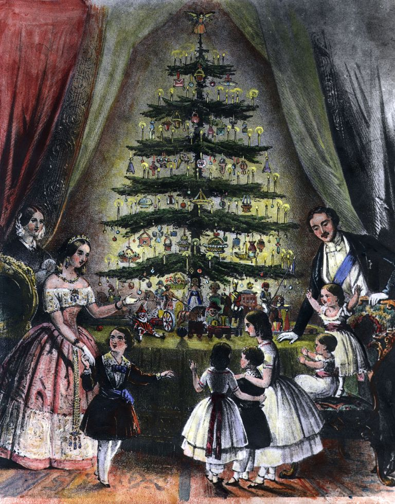 1848 engraving of the royal family decorating a tree